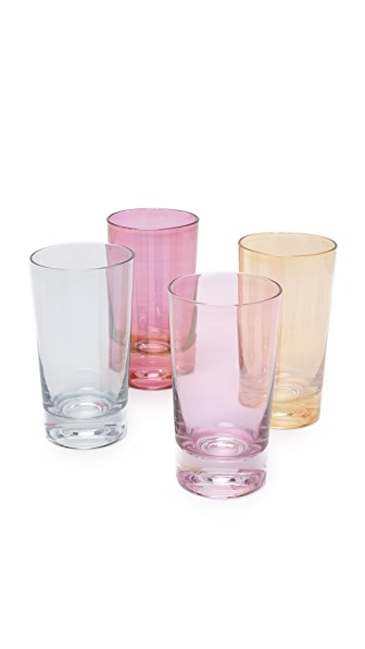 这款高玻璃杯采用各式色彩设计.4 件式套装. 容量: 8 盎司.