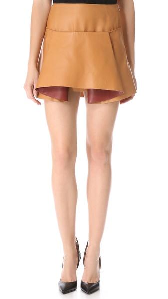 折纸风格皮革半身裙