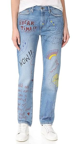 手工彩绘涂鸦牛仔裤