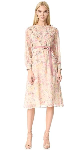 暗花玫瑰连衣裙
