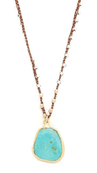 自然绿松石手工钩针编织项链