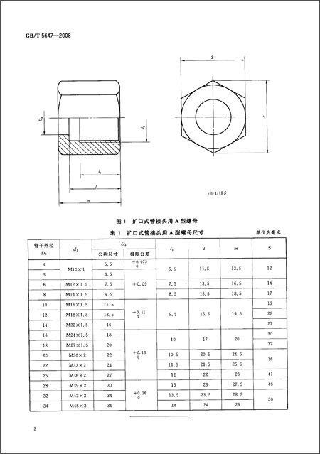 版权页:  插图:  本标准规定了扩口式管接头用a型螺母的尺寸图片