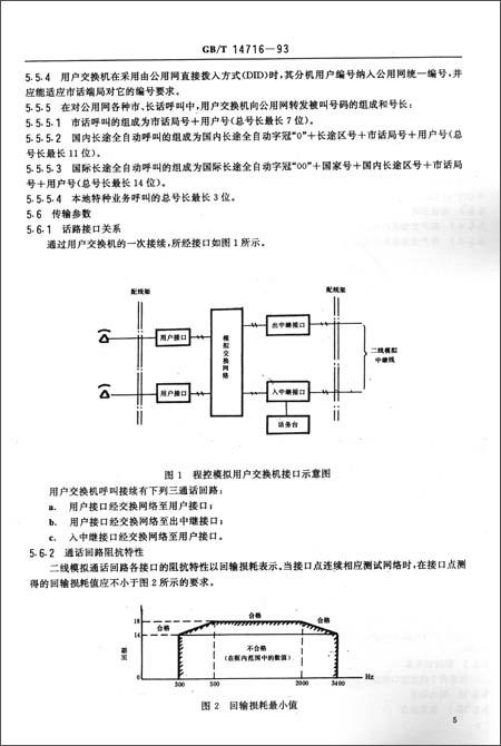 程控模拟用户自动电话交换机通用技术条件(gb/t 14716-1993)