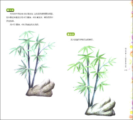 竹子铅笔画 步骤横画