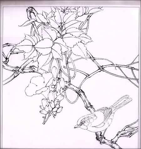 《实用白描画稿:四季条屏(原大版)(附彩稿)》