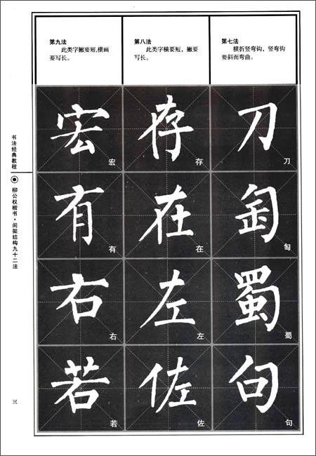 《书法经典教程61柳公权楷书:间架结构九十二法》