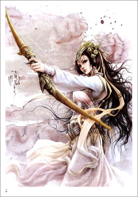 古代吹笛美女图片漫画人物