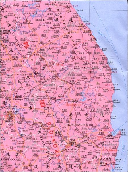 世界热点国家地图:朝鲜、韩国