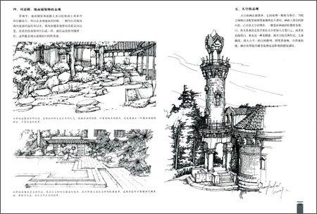 《手绘效果图基础训练丛书:景观线稿表现摹本》 , 王