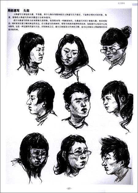 版权页:  插图:  局部速写 五官  眼睛的画法:上眼睑实,下眼睑虚