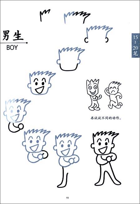 15笔人物画(简笔画)/阿彬叔叔的创意