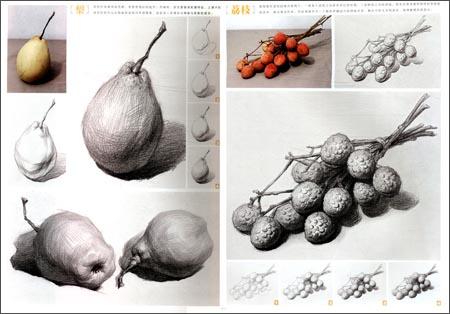 水果静物素描组合图 单个水果静物素描