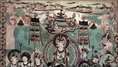 回至 中国古代壁画经典高清大图系列:敦煌莫高窟第159窟文殊变(中唐)