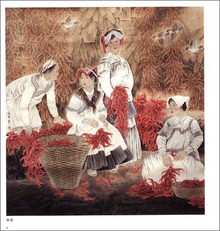 二是将山水,花鸟技法融人人物画中,形成了丰富,厚实的笔墨表现效果.