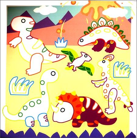 DIY立体小贴画 恐龙世界