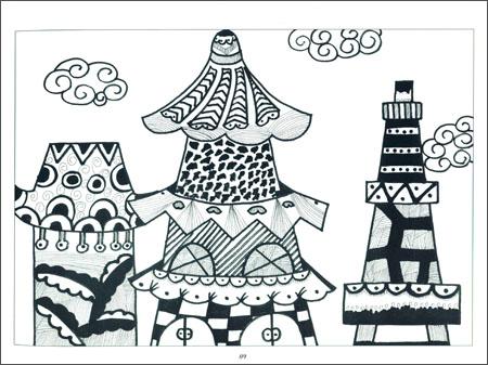 简单心心相连画图-新编儿童绘画入门教程 少儿线描画 风景篇 王夏图片