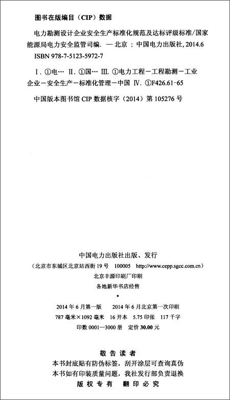 《电力勘测设计企业安全生产标准化规范及达标评级》