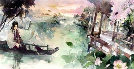 青山古风风景画