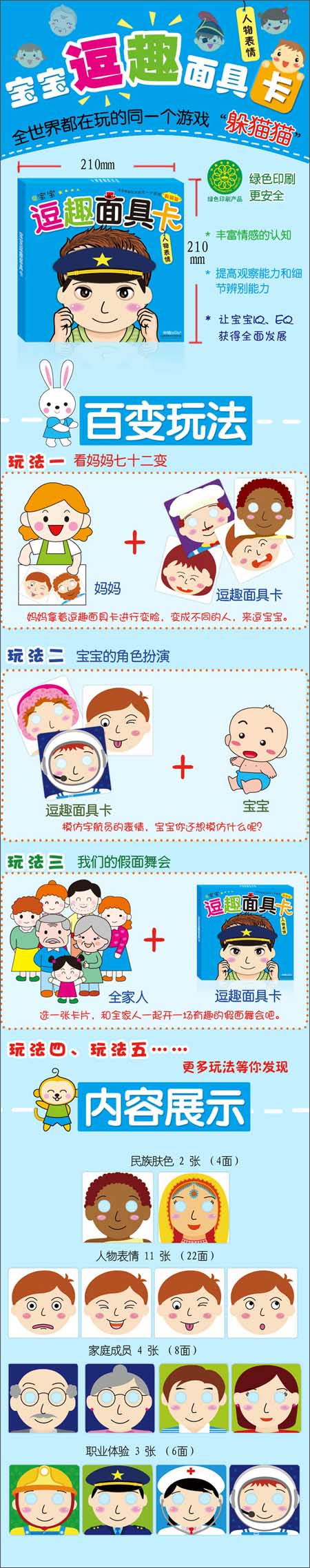 儿童面具剪纸步骤图