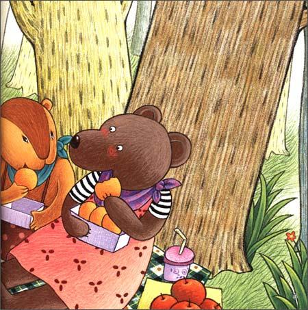 """""""  """"哎,""""小兔子跑来,把一条花被子塞进笨笨熊怀里, """"我用栗子换的,这"""