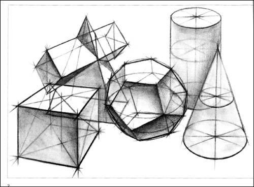 斜切圆柱素描步骤