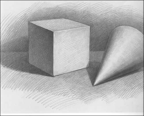 石膏几何组合范画,石膏几何体素描范画,静物素描临摹范画,几