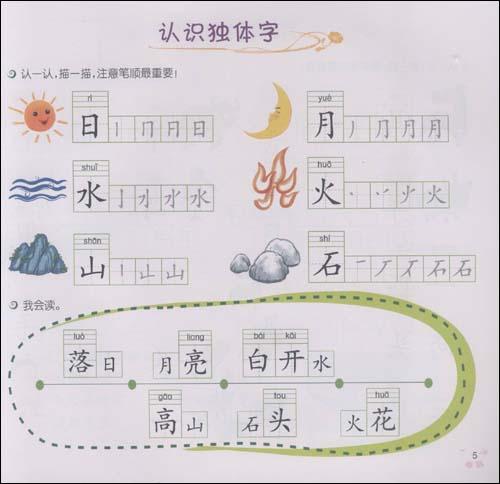 目录   认字 认识田字格 学习汉字笔画名称 学习汉字书写基本笔顺