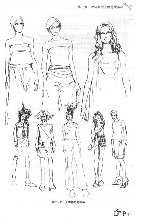 手绘人体时装画