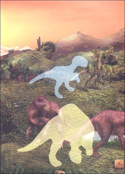 恐龙历险贴贴画 恐龙比武赛
