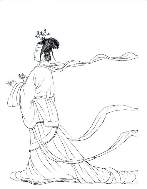 古代简笔画人物女