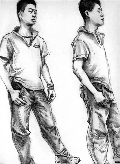 软笔人像速写_园区暑期画画书法培训班成人少儿素描软笔硬