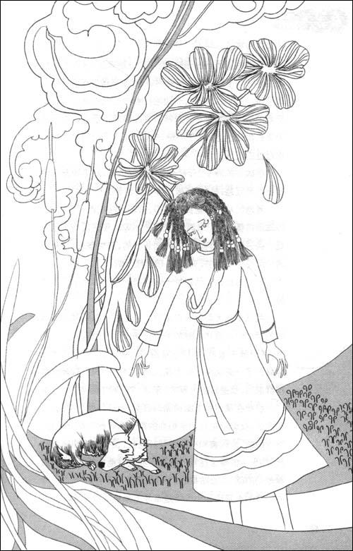 抱着向日葵的女孩黑白手绘图片
