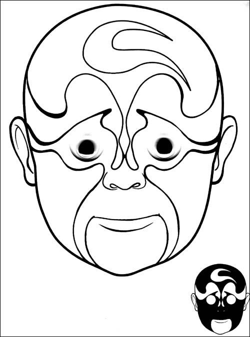 儿童戏曲脸谱简笔画