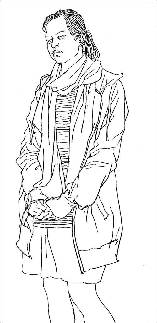 线描速写人物组合 纯线描人物速写 初级速写人物线描