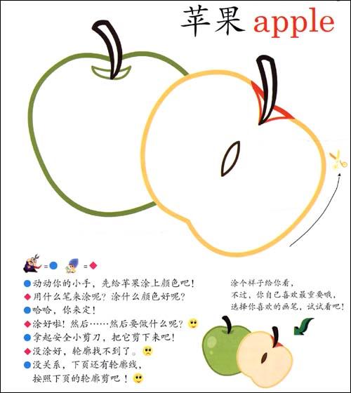 儿童水果涂色简易画