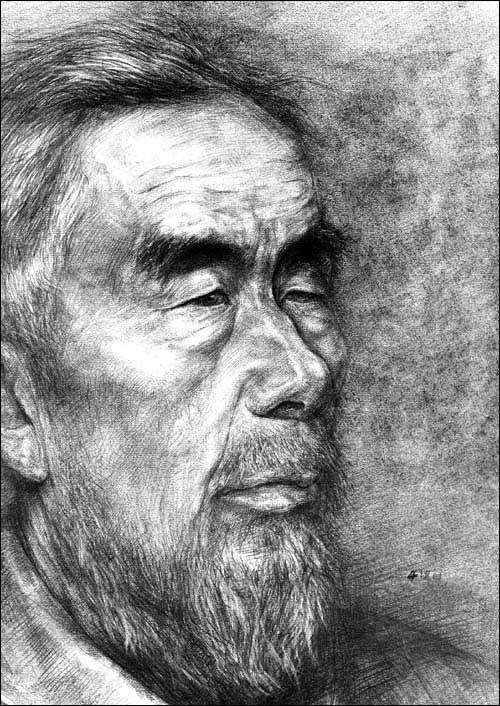 刻画摹本/方闲海; 引用@『在线课堂』素描人物头像