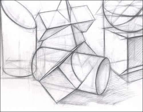 系列教程 几何形体 结构素描图片