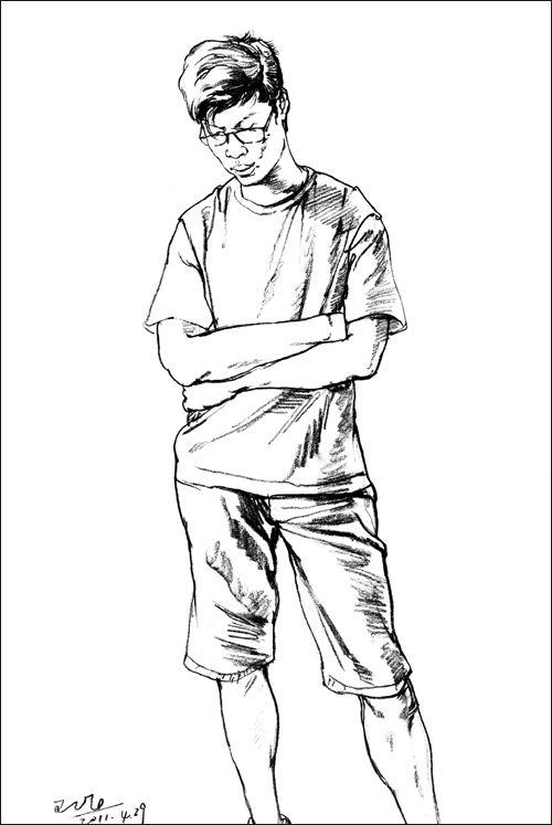 简单速写人物临摹图最新图库 线描速写头像临摹图 简单漫画人物画法图片