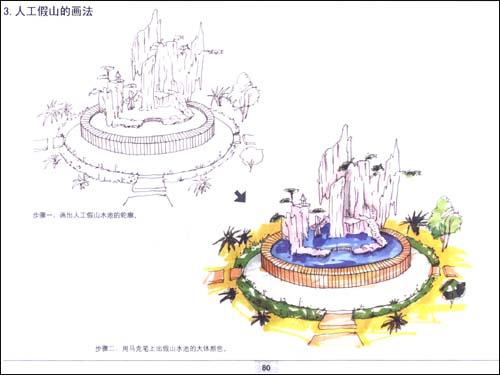景观喷泉手绘效果图-建筑景观手绘效果图,景观手绘效果图马克笔,景观