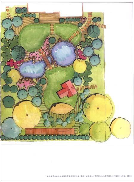 看案例-学手绘图设计:庭院景观-景观细部-景观小品