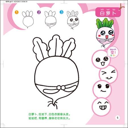 孩子可根据提示和想象为动物,植物等画出不同表情,不仅可以充分激发