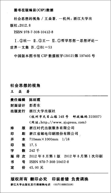 当代中国社科名家文库•北航人文与社会科学高等研究院博观文丛:社会思想的视角