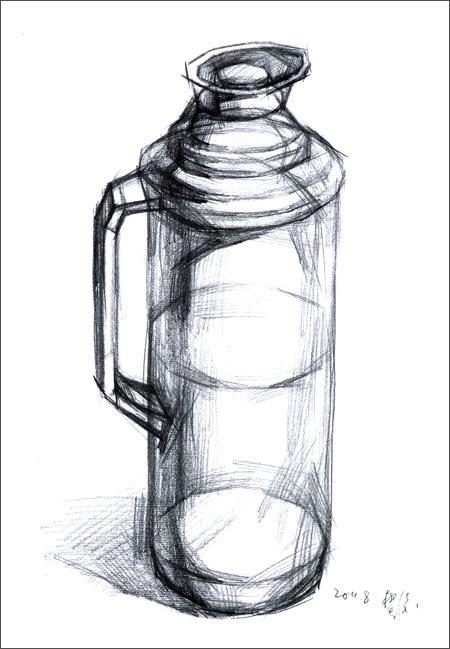 静物素描单体罐子,水粉单体静物写生视频,素描单体静物,静物