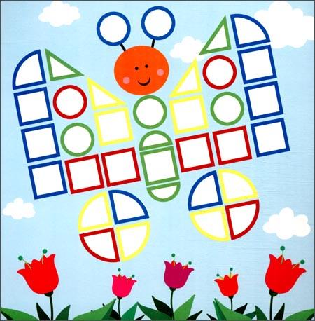 马赛克小贴画 美丽小花园 2 4岁 500块不干胶立体贴纸