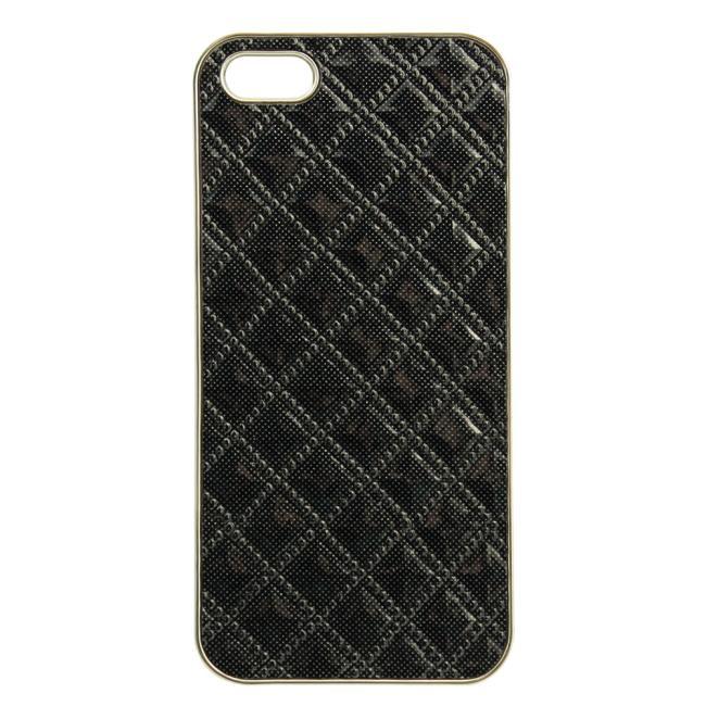 乾甲天 iphone5电镀贴皮菱形格纹手机壳 硬壳(黑色)