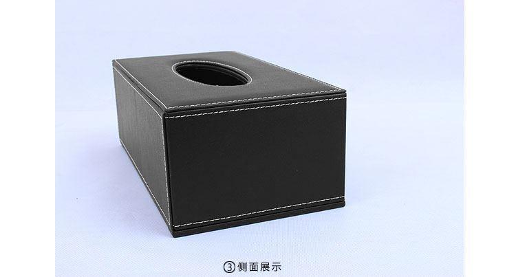 欧式高档皮质小长方形黑石头纹纸巾盒黑针