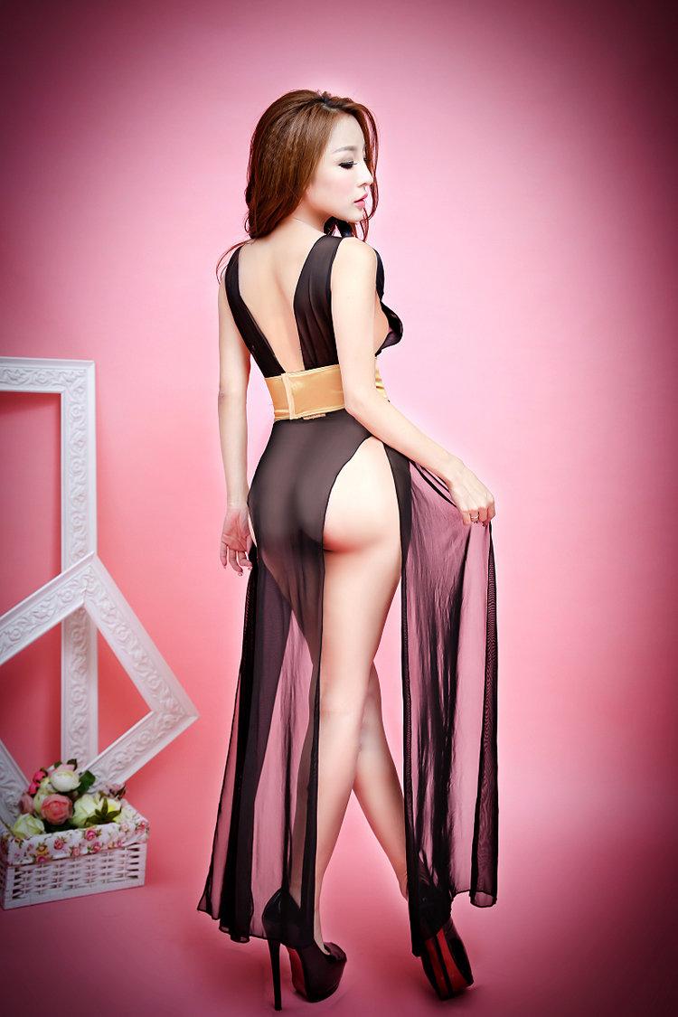 欧姿丽雅 百花系列 最新爆款式黑色性感长裙透明网纱