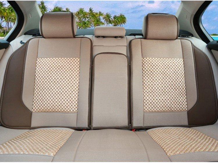 海尚汽车坐垫四季新款 汽车夏季座垫四季通用 皮革冰丝 车垫套14-12米