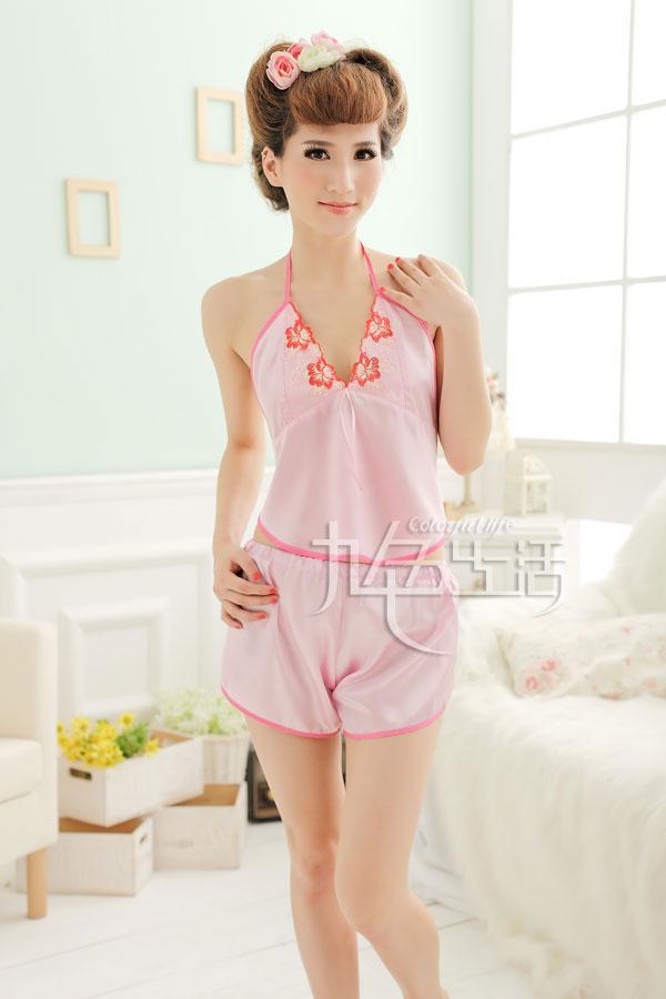 九色生活 情趣内衣 甜美女士情趣睡衣制服诱惑粉色套装 可爱肚兜 短裤