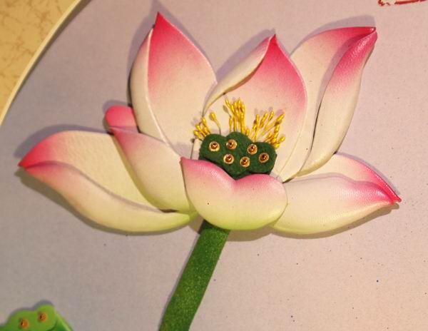 张杰手工羊皮立体花卉装饰画清新荷韵图